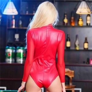Image 5 - Na zamek błyskawiczny lateks Catsuit Gothic Faux skórzane body kobiety fetysz pcv Teddy bielizna Mesh z długim rękawem taniec Clubwear erotyczne kostium