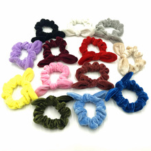 1PCS 13 Colors Cheap Hair Scrunchies Velvet Bunny Ear Wholesale Women Elastic Rubber Band Ponytail Holder
