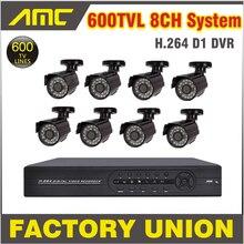 8cs Sistema 600TVL Cámara Impermeable del IR CCTV Sistema 8ch Kit CCTV Canal Home Video Vigilancia Sistema de Seguridad DVR 8ch