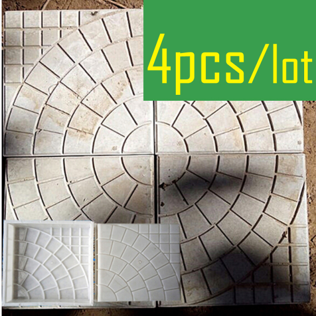 4 Pieces/lot Walk Path Brick Cement Maker Concrete Plastic Mold DIY Garden Walking Road Bricks Decoration Round Pattern