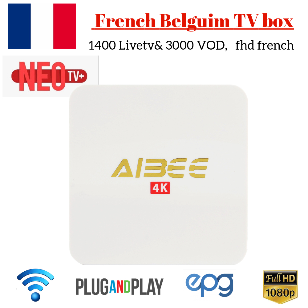 Aibee Android smart TV Box with 1 Year NEOTV PRO French Belguim IPTV Subscription 1400 Livetv