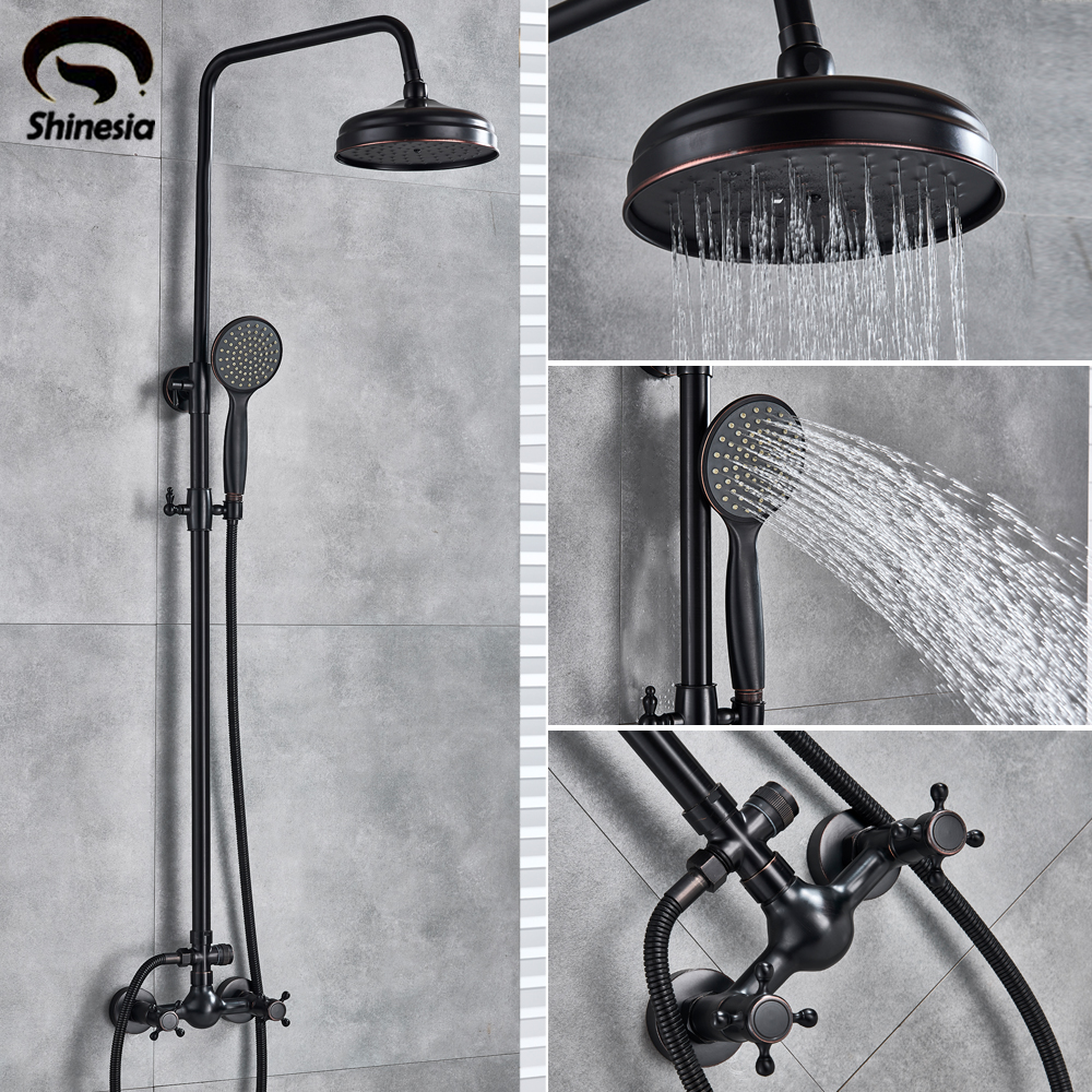 "Shinesia Antique/Black Bronze Bathroom Shower Set Mixer Faucet 8"" Rain Shower Head with Hand Shower Double Handle Wall Mounted-in Shower Faucets from Home Improvement"