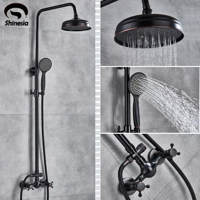 """Shinesia antika/siyah bronz banyo duş seti mikser musluk 8 """"yağmur biçimli duş başlığı duş başlığı çift kolu duvara monte"""