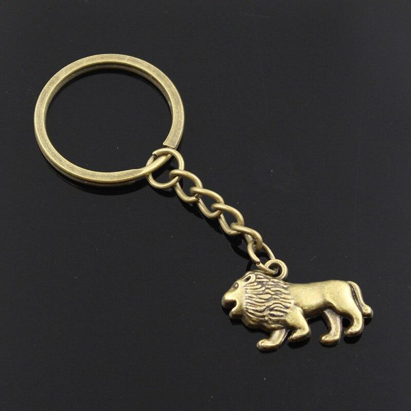 New Fashion Men 30mm Keychain DIY Metal Holder Chain Vintage Lion 29x18mm Bronze Pendant Gift