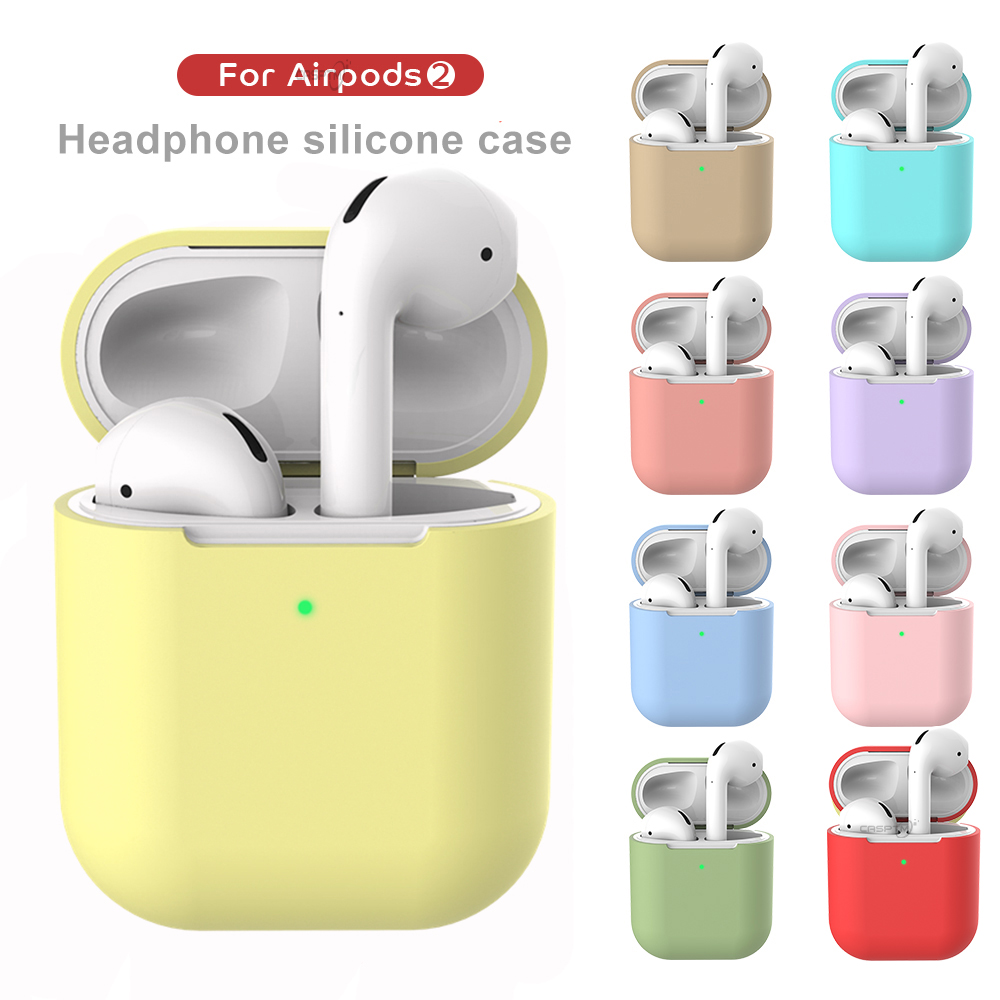 Earphone Case For Apple AirPods 2 Silicone Cover Wireless Bluetooth Headphone Pouch For Air Pods Protective Case Cover