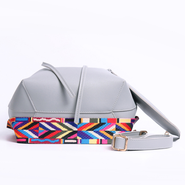 Women's Bucket Bag with Colorful Strap