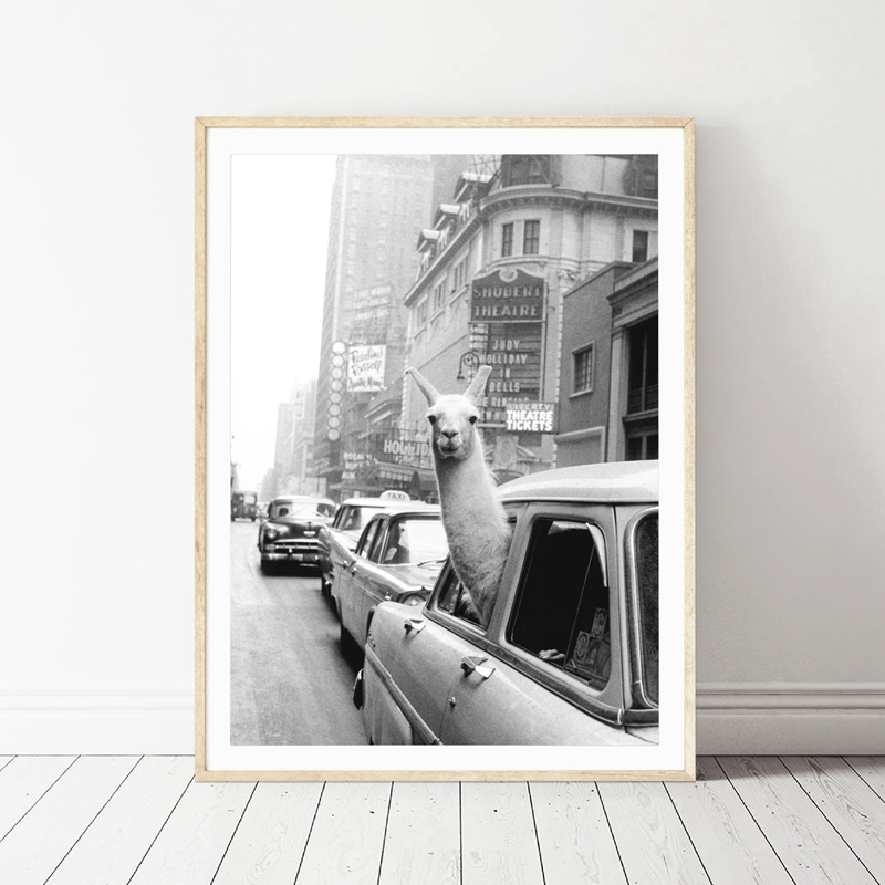 Poster Vintage Taxi Photo-Picture Wall-Art Llama Canvas-Print Home-Decor York-City Times Square