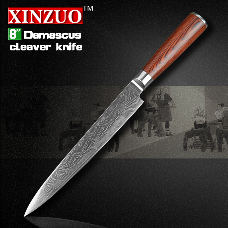 NEW 8 inch cleaver font b knives b font Japanese VG10 Damascus steel kitchen slicing Carving