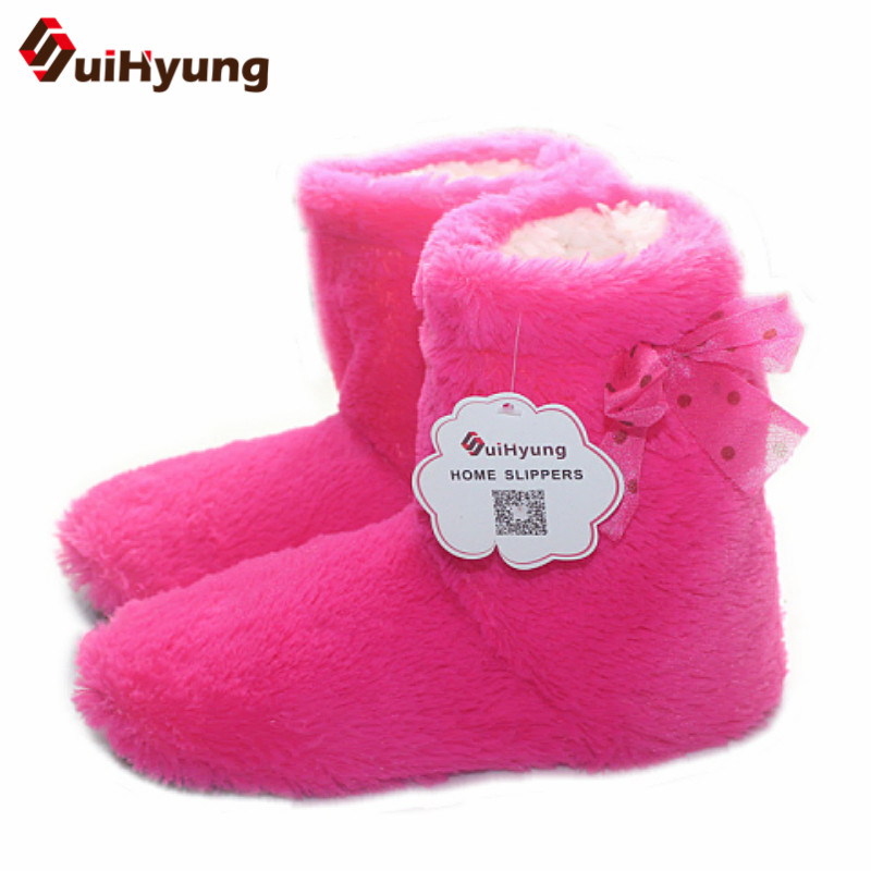 SuiHyung Women's Winter Indoor Shoes Plush Warm Cotton Shoes Soft Bottom Non-slip Home Shoes Girls Indoor Floor Slippers suihyung new winter warm women home slippers plush indoor shoes funny bear pattern cotton padded shoes house bedroom floor shoes