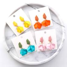 Summer Earrings 2019 Beach Holiday Flower Petal pendientes mujer Long Fashion Korean Jewelry Pink Yellow Orange