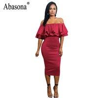 Abasona Women Off Shoulder Dresses Party Club Ruffles Pencil Dress Elegant Ladies Strapless Knee Length Dress