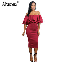 Abasona Women Off Shoulder Dresses Party Club Ruffles Pencil Dress Elegant Ladies Strapless Knee Length Dress