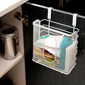 Practical white kitchen cabinet door hanging storage basket with hook container Seasoning Holders for Kitchen supplies