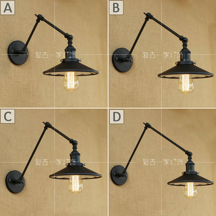 ФОТО Vintage Retro Wall Sconces E27 Lamp Base Rustic Country Wall Lamps Metal Mounted Wall Bedroom Stair Mirror Lamps With len WWL125