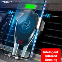 ROCK Intelligent Infrared Sensor Car Wireless Charger Metal Phone Holder for iPhone XS XR Fast QI Wireless Charger For Samsung