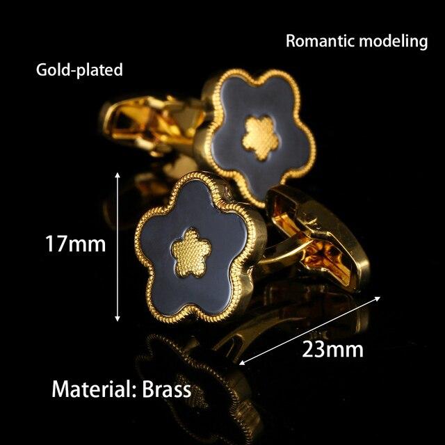 Gold Flower High quality Cuff links  1