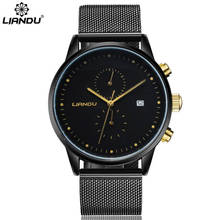 Fashion New Simple Stylish LIANDU Luxury Brand Watches Men Stainless Steel Mesh Strap Quartz-watch Ultra thin Dial Clock Man liandu fashion men s luxury chronograph luminous black quartz watch simulated stainless steel mesh with watch
