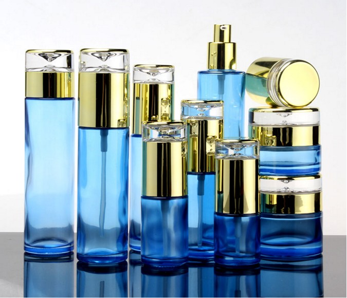 10pcs Elegant Blue Glass Lotion Pump Spray Bottle With Gold Acrylic Cover High Grade Facial Cream
