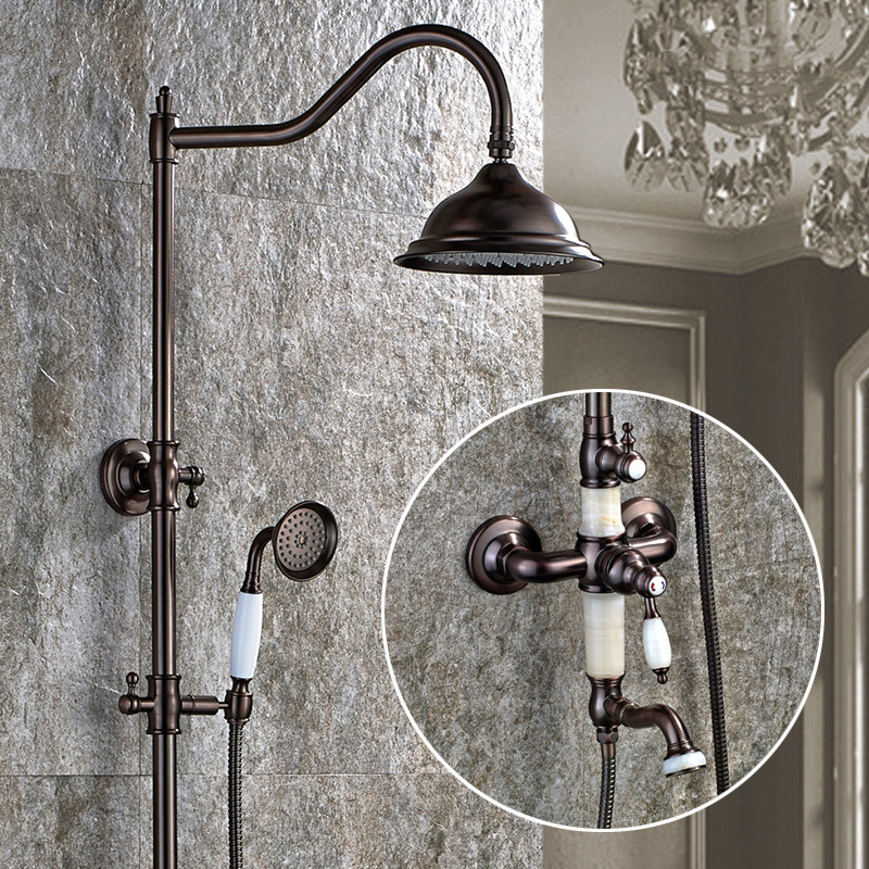 European Style Oil Rubbed Brushed Finish Dual Handle Brass Bath & Shower Faucet With Slide Bar and Hand Shower Bathtub Faucet