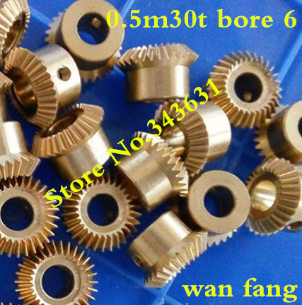 2PCS 0.5M30T Bevel Gear 0.5 Mod M=0.5 Modulus Ratio 1:1 Bore 6mm Brass Right Angle Transmission parts machine parts DIY smt bevel angle glue metal squeegee blades 30 6mm
