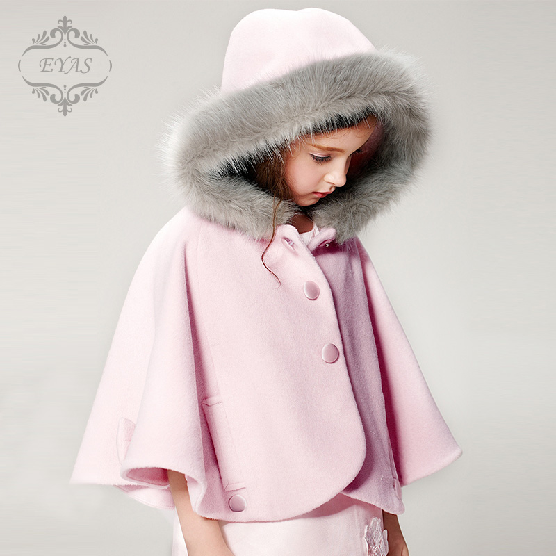 2017 Eyas Autumn Winter Children's Sweet Clothing Pink Woolen Outerwear Overcoat  Child Floweral Girl Cape Cloak W5416 hot sale open front geometry pattern batwing winter loose cloak coat poncho cape for women