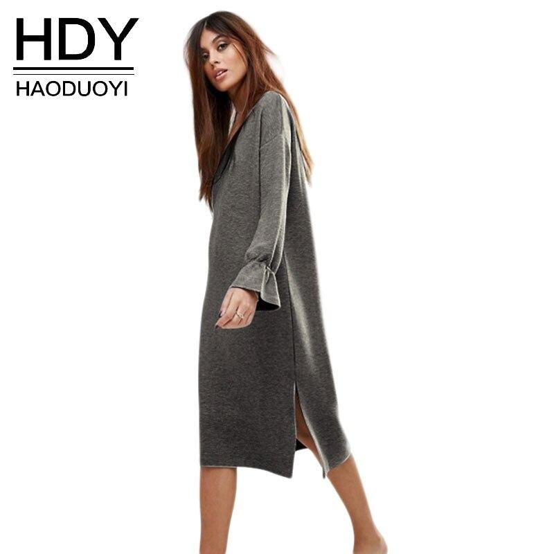 HDY Для женщин толстовка платья-толстовки Демисезонный бабочка рукав высокого Разделение платье миди серое до середины икры Vestidos женский De ...
