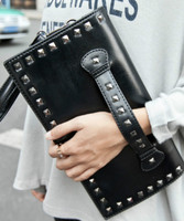 2018 new Fashion women's messenger bags famous brand wristlet handbag leather lady shoulder clutches wallets black rivet !