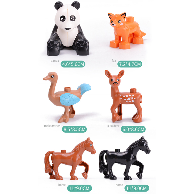 5Pcs-50pcs DIY Big Size Farm Dinosaur Animal Series Building Blocks Sets Bricks Compatible with Duploe Toys  for children  (12)