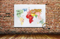 Great Handpainted Decor Canvas Painting World Map Picture Art Paints For Wall Decoration In Home Or