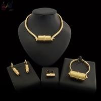 Yulaili Small Flashlight Shape Design Choker Pendant Earrings Bracelet Ring Excellent Polishing Dubai Gold Jewelry Sets for Wome