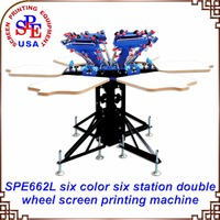 SPE662L Six Color Six Station Double Wheel Screen Printing Machine Tshirt Platen Screen Press