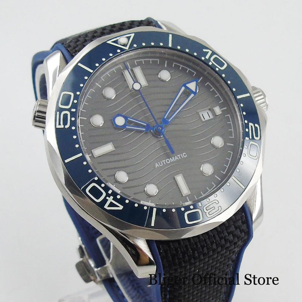 BLIGER Sport Stijl Automatische mannen Horloge Zelfoprollend Beweging Nologo Horloge Gezicht Met Wave Patroon 41mm Tijd Horloge - 3
