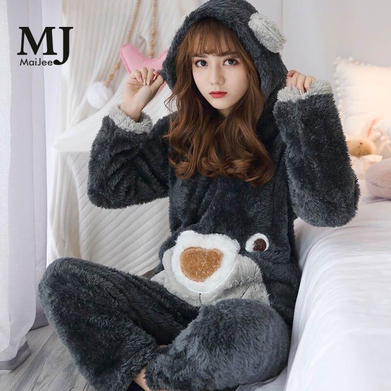 MJ026A Winter Pijama De Animal Thick Pyjamas Set Warm Pajamas Set Pyjama Flannel Pijamas Mujer Pijama Feminino Pigiama Donna
