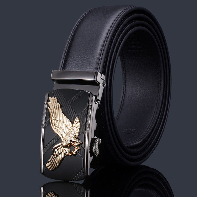 KAWEIDA Mens Accessories 2018 Luxe Gold Silver Eagle Automatic Buckle   Belt   for Jeans Designer Leather   Belt   Trending Gift for Man