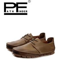 Pathfinder 2017 мужчин повседневная кожаная обувь лето Бизнес обувь кроссовки дышащий мода открытый лодыжки Вождения Мужская обувь на Плоской