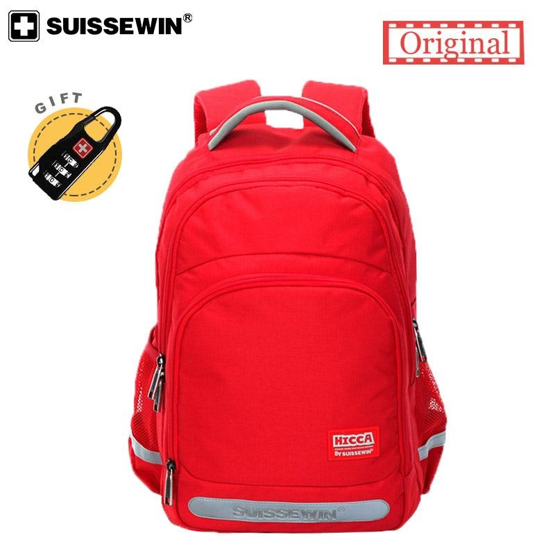 NEW 2019 SWISS Brand Bag Pink Bolsas Fabric Schoolbag Noctilucent Satchel Waterproof School Backpack For Teenage Girls And Boys