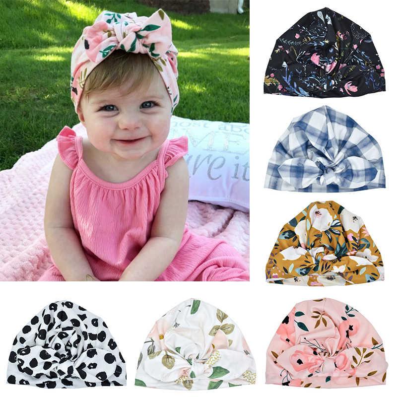 Nouveau-né infantile enfant en bas âge bébé mignon doux coton noeud imprimé oreilles de lapin Turban chapeau indien fleur Cap bébé accessoires