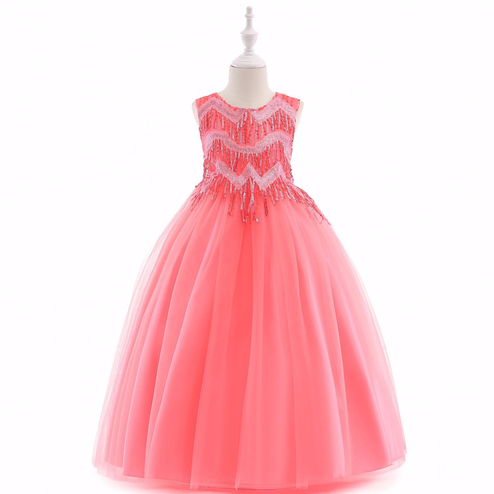 все цены на Sleeveless Flower Girl Dress For Wedding Tassel Princess Kids Dresses for Girl Dresses for Party and Wedding Tulle Toddler Dress