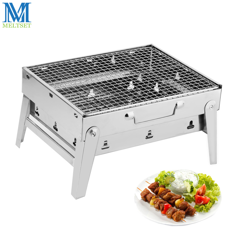 Meltset Stainless Steel Barbecue Grill Outdoor Camping Picnic BBQ Rack Folding Charcoal Grill Barbecue Kebab Baking Oven ...