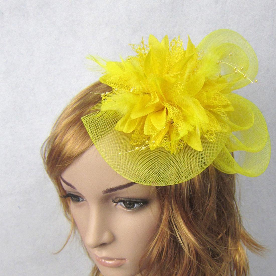 Women Chic Fascinator Hat Cocktail Wedding Party Church Headpiece   Headwear   Fancy Feather Hair Accessories Hair Accessories