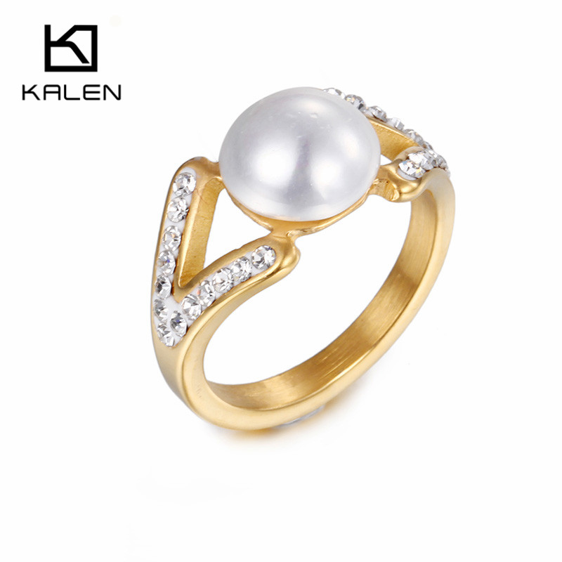 kalen cheap plastic pearl rings rhinestone stainless steel columbia gold color elegant finger ring for - Fake Wedding Ring