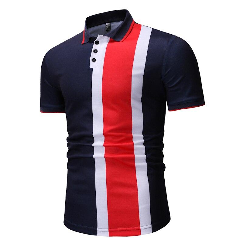 2019   Polo   shirt men's color matching   POLO   shirt men's lapel breathable   POLO   shirt Slim short-sleeved shirt men's clothing