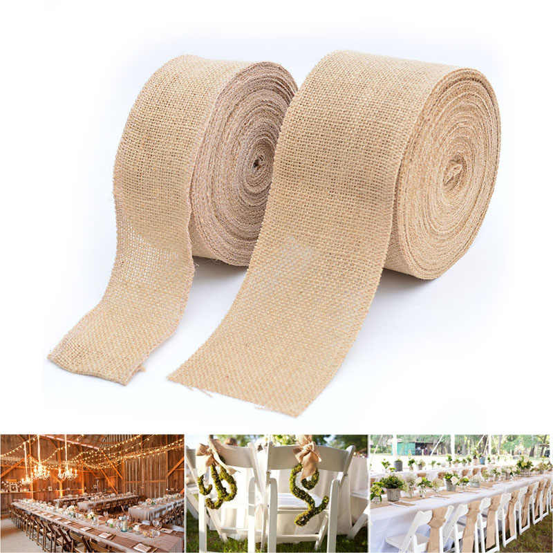 Burlap Ribbon Roll for Burlap Bows Wreaths Wedding Party Rustic Decor Crafts Rollo de cinta de arpillera de yute H99F