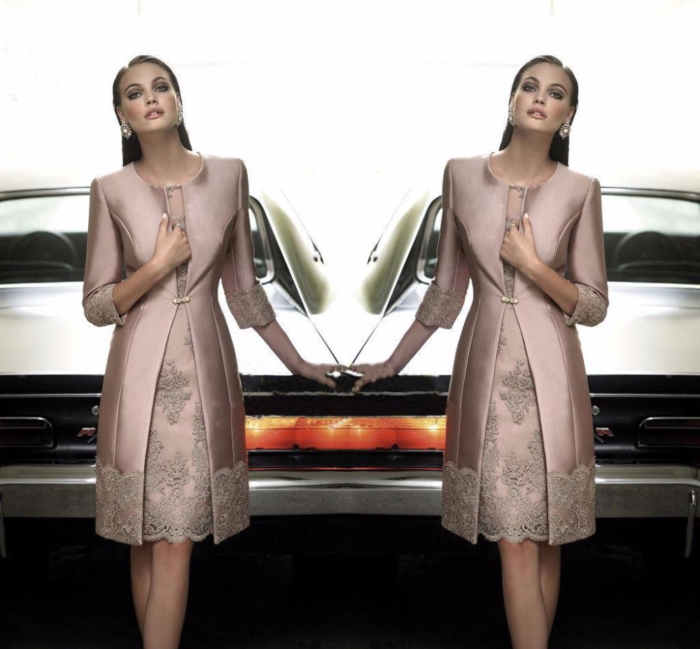Fashion mother of the bride dresses satin long coat for Formal wedding dresses for mother of the bride