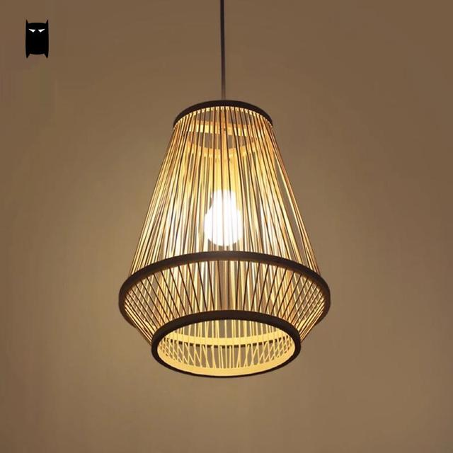 Bamboo wicker rattan cage shade pendant light fixture asian japanese bamboo wicker rattan cage shade pendant light fixture asian japanese tatami hanging ceiling lamp dining table mozeypictures Gallery