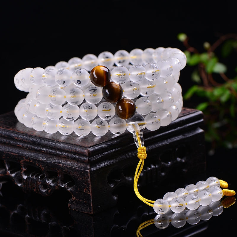 BRO861 Tibetan Mantras Prayer Beads Mala Natural Matted Crystal Rosary 6mm 8mm 10mm OM MANI PAD ME HUM