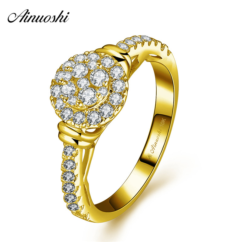 AINUOSHI 10k Solid Yellow Gold Round Halo Ring Woman Wedding Engagement Jewelry Luxurious Bridal Band Side pattern Hollowed RingAINUOSHI 10k Solid Yellow Gold Round Halo Ring Woman Wedding Engagement Jewelry Luxurious Bridal Band Side pattern Hollowed Ring