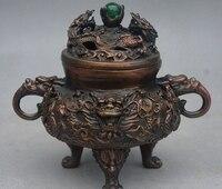 Chiny pałac świątyni Fengshui brąz zodiaku 9 smok statyw kadzidło palnika Censer w Posągi i rzeźby od Dom i ogród na