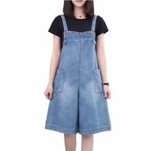 Strap Jeans Summer Denim Overalls Pocket Casual-Pants Wide-Leg Plus-Size Cotton Thin