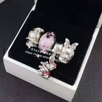 c0184b82a 4pcs Fashion S925 Silver Daisy And Donald Duck Piggy Charms Beads Jewelry  Set Fit Bracelet Necklaces